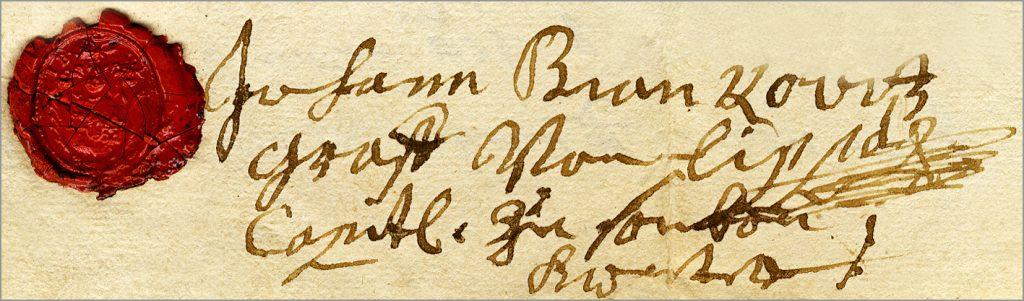 Potpis i pečat kapetana Jovana Brankovića
