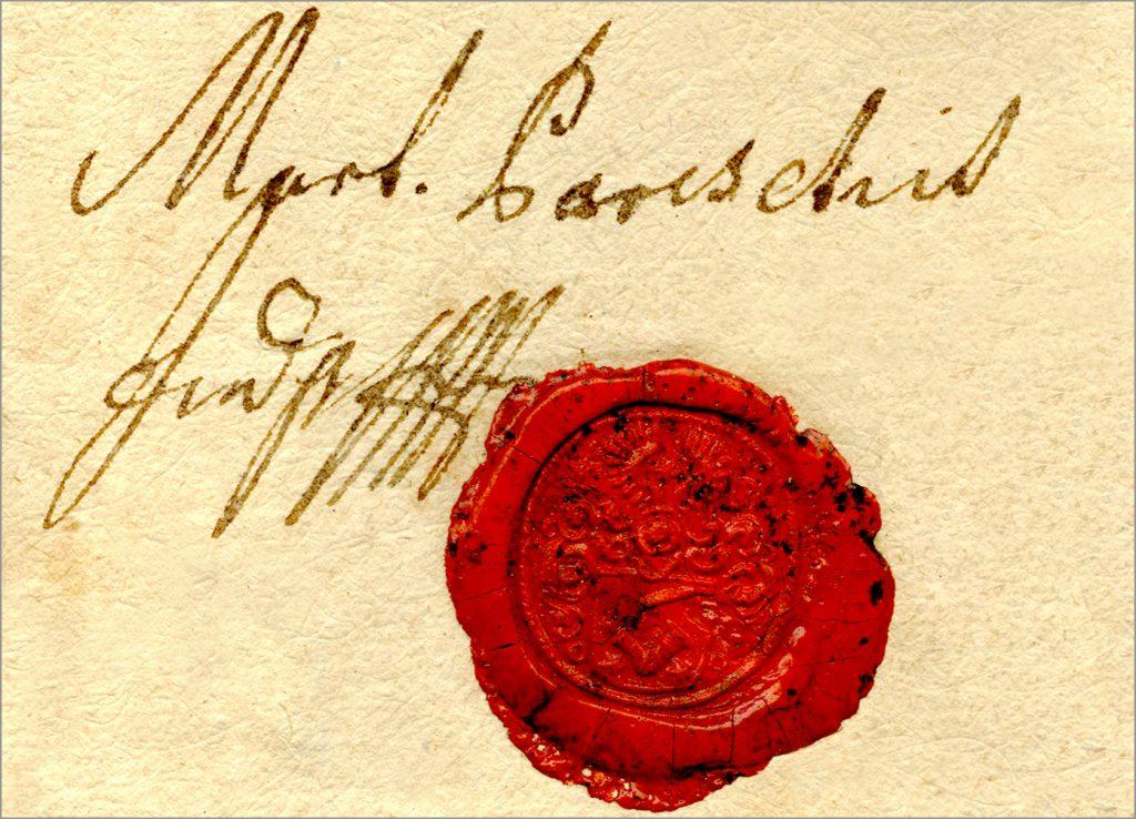 Potpis i pečat prvog somborskog gradonačelnika Martina Parčetića